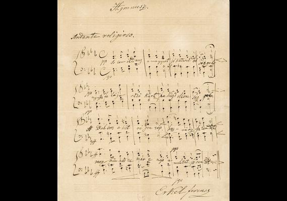 Erkel Ferenc 1844-ben komponált dallamot a Himnuszhoz: ez a kotta volt az, amellyel a vers megzenésítésére hirdetett pályázatot megnyerte.