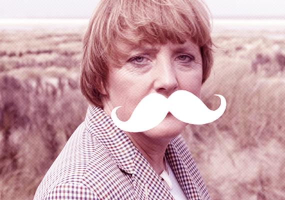 Az elmaradhatatlan hipszterbajusz is kiválóan áll a német kancellárasszonynak.