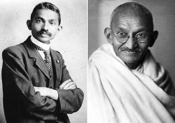 Mahatma Gandhi fiatalon, öltönyben.