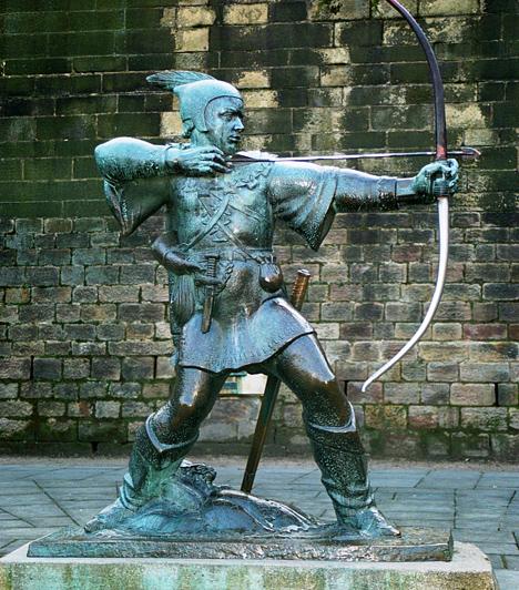 Robin Hood  Bár nem tudni biztosan, hogy a leghíresebb angol népi hős a valóságban létezett-e, a 14. században a róla szóló balladák futótűzként terjedtek el, és a népi tradícióknak a későbbiek során is központi karaktere volt. A történészek szerint, ha valóban élt, nem a valóban létező sherwoodi erdőbe fosztotta ki a gazdagokat, és adott mindent a szegényeknek, hanem Yorkshire környékén.