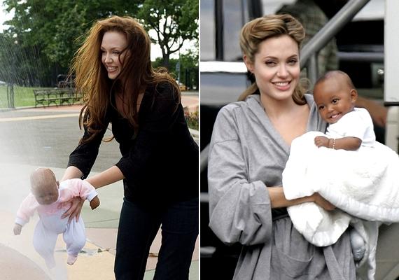 A bal oldali fotón Tiffany Claus látható, aki a jobb oldali képen szereplő Angelina Jolie bőrébe bújt.