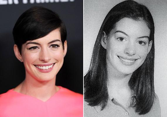 Anne Hathaway nem sokat változott 18 éves kora óta, jellegzetes, kissé naiv mosolya a mai napig megmaradt.
