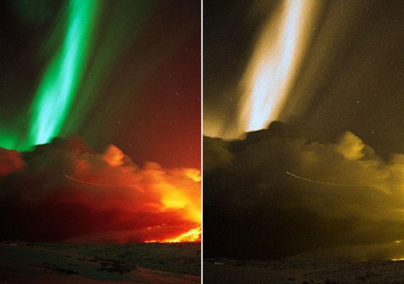 Balra az eredeti, jobbra a manipulált fotó a sarki fényről - a látássérültek szemével.