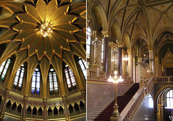 A bejáratnál látható kupolacsarnok a leglátványosabb része az egész épületnek.
