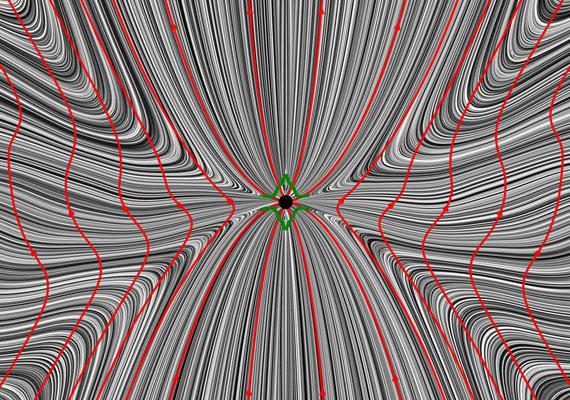 A vibráló kép a fekete lyuk körüli mágneses teret modellezi.