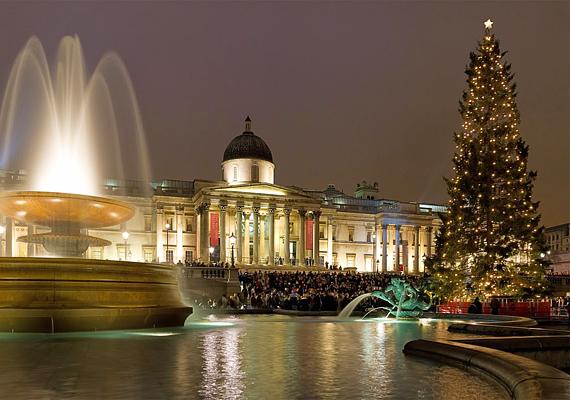 A londoni Trafalgar téren mindig nagy tömeg gyűlik össze, hogy megcsodálják a felállított karácsonyfát.