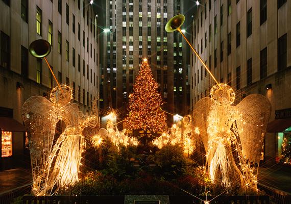 A New York-i Rockefeller Center jellegzetes karácsonyfája.