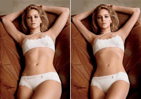 Bár Jennifer korábban sem volt kövér, teljesen átlagos, formás és nőies alakja volt, a hollywoodi sztárgyár követelményeinek nem felelt meg. Ennek egyik legemlékezetesebb megmutatkozása a világhírű fehérneműs fotó, amin sokkal vékonyabbra retusálták a testét.