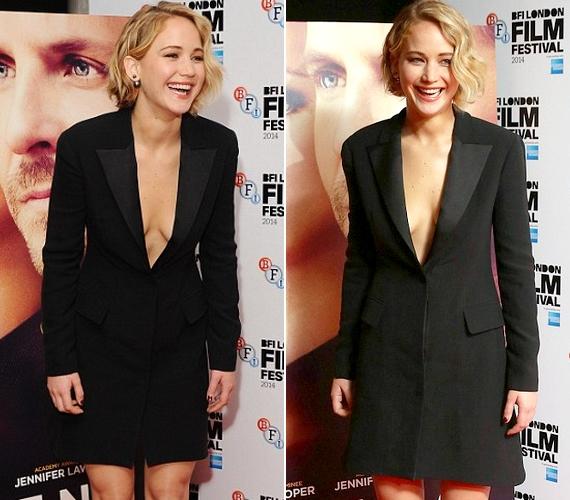 A színésznő októberben Serena című új filmjének londoni bemutatójára egy fekete ruhát választott. Olyan volt, mintha egy hosszú blézer lenne rajta, ami alá nem vett fel blúzt. Jennifer fesztelenül mozgott a ruhában, bátran hajlongott és nevetett.