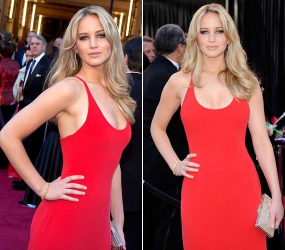 A 2012-es Academy Awardson egy testre tapadó, kivágott, piros ruhában feszített.