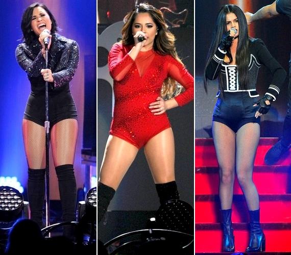 Szűk body, harisnya és csizma - mindhárom énekesnő ilyen szerelésben lépett a színpadra.
