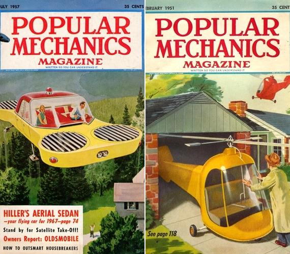 A Popular Mechanics magazin 1957-es száma szerint tíz év múlva már megvalósulhat a repülő autók terve. A lap korábban azt jósolta, hamarosan mindenkinek helikopterszerű személyi jármű áll majd a garázsában.