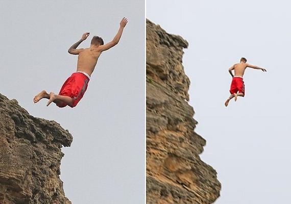 Nem a mostani volt az első eset, hogy Justin Bieber leugrott egy szikláról: ezek a képek tavaly novemberben készültek.