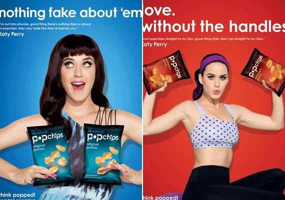 """""""Nincs bennük semmi mű!"""" - tartja a chipses zacskókat Katy a mellei elé."""