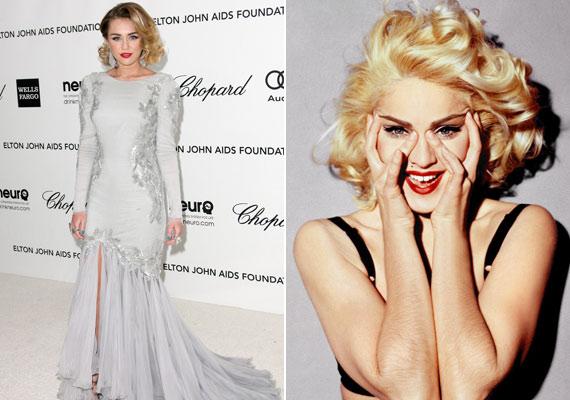 Aki messziről pillantott Miley Cyrusra Elton John Oscar utáni partiján, azt hihette, hogy a fiatal Madonnát látja.