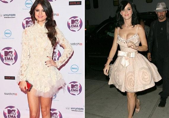 Katy Perry stílusához viszont Selena Gomezét hasonlítgatják egyre többször, aki nemrég színes tincseket is festetett magának, ami köztudottan Katy egyik védjegye.