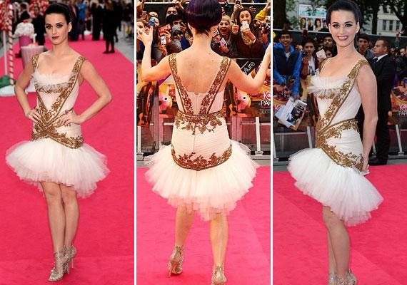 Katy Perry arannyal díszített, balerinaszoknyás ruhában érkezett a premierre.