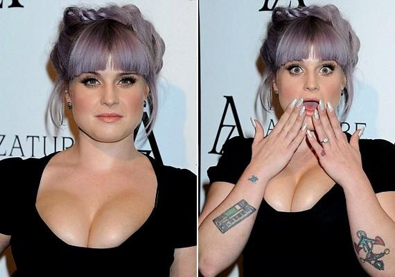 A híresség egy mélyen dekoltált fekete ruhában jelent meg az eseményen: egyesek szerint a mellmérete arról árulkodik, hogy vagy terhes, vagy plasztikáztatott.