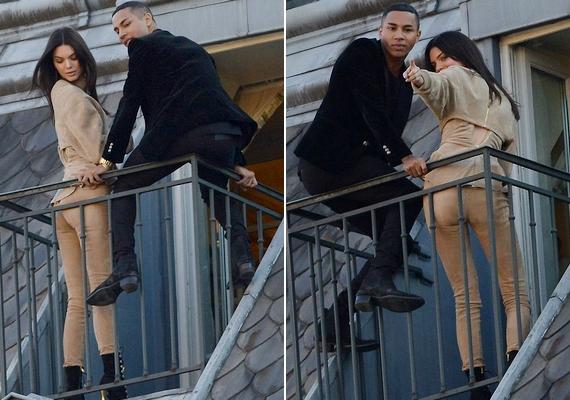 Amíg a modellt az utcáról fotózták, Olivier Rousteing a korláton akrobatikázott.