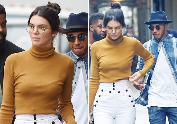 A modell mögött nem más, mint Lewis Hamilton autóversenyző lépked, akiről azt pletykálják, gyengéd szálak fűzik Kendall Jennerhez.