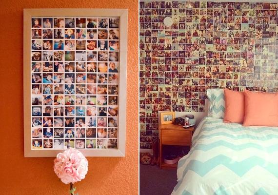 Az egyszerű mozaik is remekül néz ki. Nyomtasd ki kicsiben, egyforma méretben a fotókat, és csempeszerűen ragaszd fel őket akár egy képkeretbe, akár egy nagyobb falfelületre.