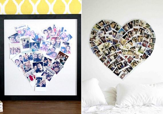 Rajzolj halványan szív formát a falra vagy egy lapra, és rendezd be így a képeket, mielőtt felragasztanád őket! Ilyen biztosan nem lesz senki másnak.