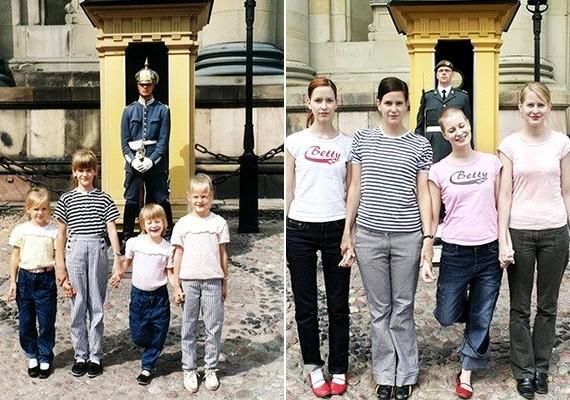 A régi felvételen szereplő ruhákhoz hasonló öltözékekben fényképezkedtek.
