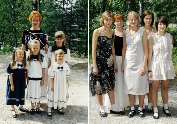 Egy-egy fotón az édesanyjuk vagy az édesapjuk is felbukkan.