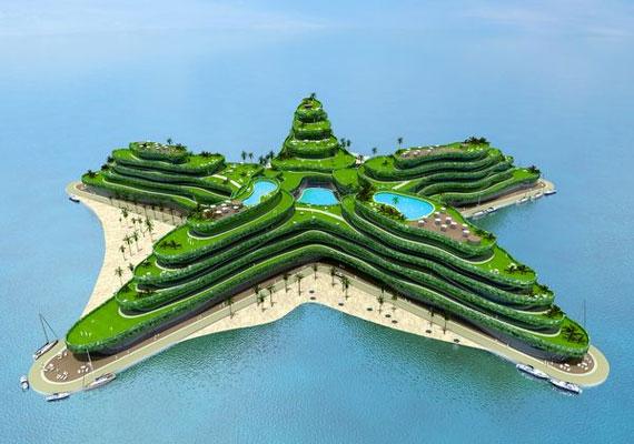 Az alakzatokat formázó szigetek a nem is annyira távoli jövő képei: Dubaiban már épültek hasonlók.