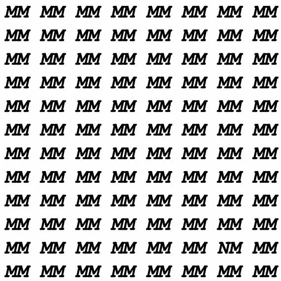 Keresd meg az M betűk között az elrejtett N betűt!