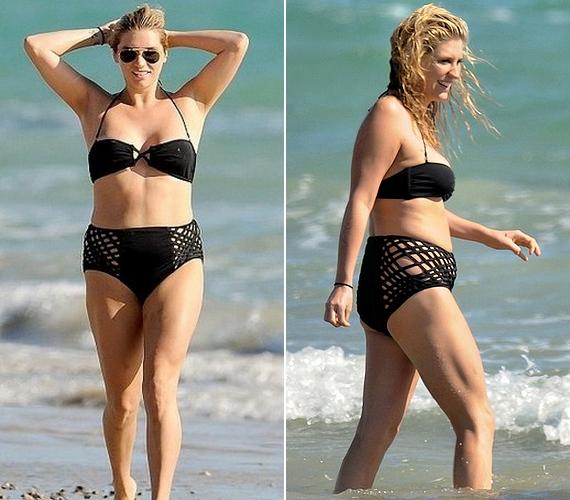 Korábban, amikor sokkal több plusz kiló volt rajta, felszabadultabb volt, és gond nélkül mutatkozott bikiniben.