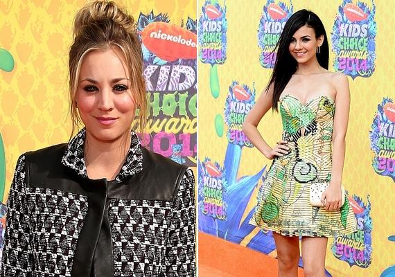 Kaley Cuoco és Victoria Justice is a feltűnő, apró mintás öltözék mellett döntött.