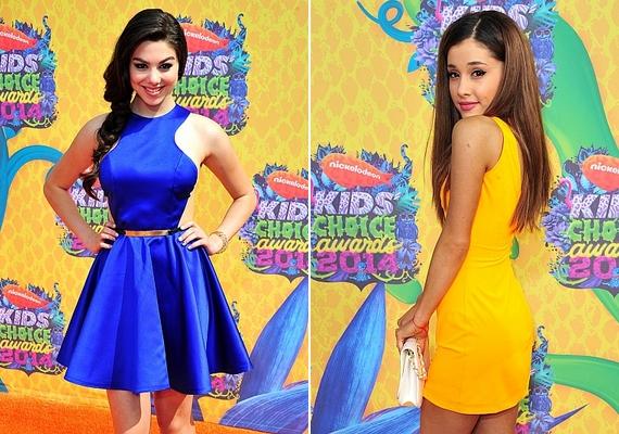A Nickelodeon két sztárja, a 16 éves Kira Kosarin és a 20 éves Ariana Grande mindketten egyszerű, csinos koktélruhát választottak az eseményre.