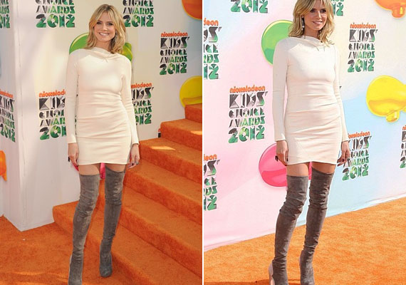 Heidi Klumnak egyáltalán nem volt előnyös a vastag fehér ruha, a csizmáról már nem is beszélve.