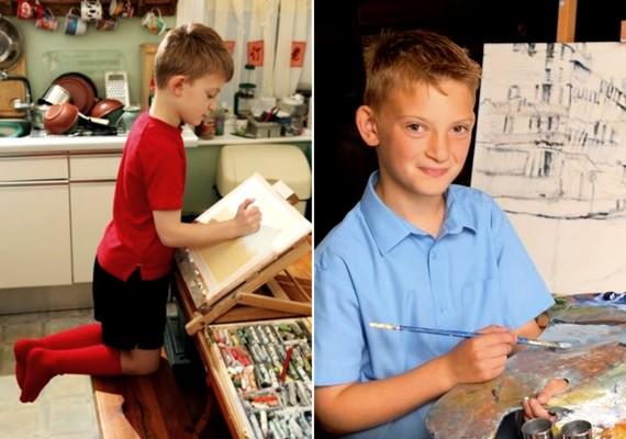 A 11 éves Kieron Williamson munka közben