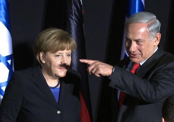 Az Angela Merkel orra alatti árnyék pont olyan, mint egy Hitler-bajusz. Benjamin Netanjahu izraeli miniszterelnöknek valószínűleg sohasem mondta az anyukája, hogy nem illik mutogatni.