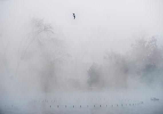 Ilyen, amikor a Városligeti-tó sűrű ködfelhőbe burkolózik.