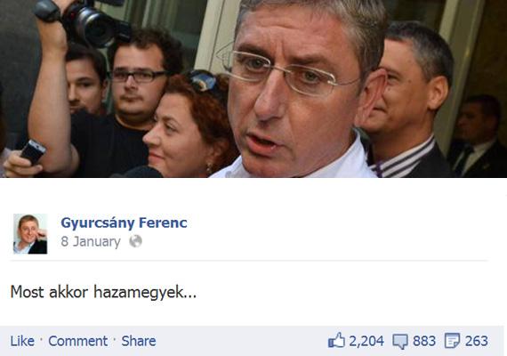"""A DK-s Gyurcsány Ferenc mintha már a gép előtt ülve készült volna a baloldali ellenzéki összefogás megállapodására. Dörzsölve a tenyerét csapott az asztalra elégedetten, amikor Bajnaiék bejelentették, hogy készek vele tárgyalni. A Facebookra posztolta: """"Most akkor hazamegyek..."""""""