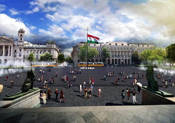 Az új, 33 méter magas országzászló köré elegáns és tartós bazaltburkolat kerül.