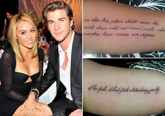 Az énekesnőnek nem ez lesz az első ilyen vállalkozása, annak idején exvőlegényével, Liam Hemsworth-szel is összeillő tetoválást varratott.