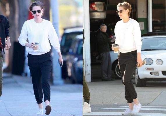 Kristen rövidre vágatta a haját, és öltözködésére is a divatos, de nagyon fiús boyfriend stílus jellemző.