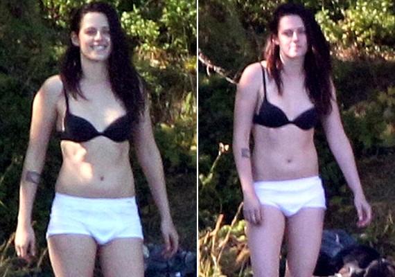 Az első fotókon Kristent még szárazon sikerült lekapni, és egyértelműen férfialsónemű volt rajta. Nem tudni, milyen okból viselt fehér bokszeralsót a fekete melltartóhoz.