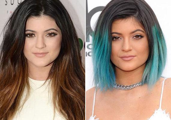 A plasztikán kívül a frizuráját is rendszeresen változtatja, állandóan kísérletezik nemcsak a fazonokkal, de a hajszínekkel is: korábban hosszú, barna haját rövidebb, színes ombréra változtatta.