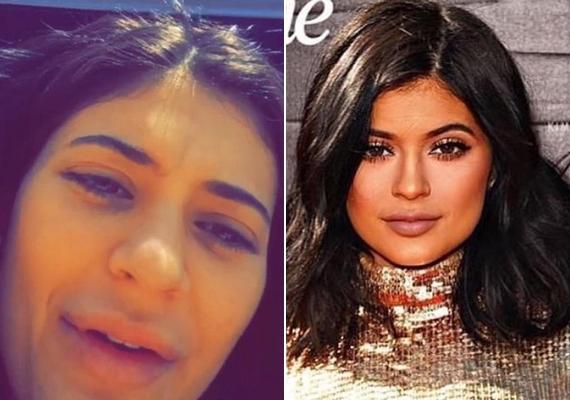 Kylie Jenner smink nélkül és kifestve. Hatalmas a különbség, és mintha nem is egy 17 éves lány nézne vissza ránk a képről.