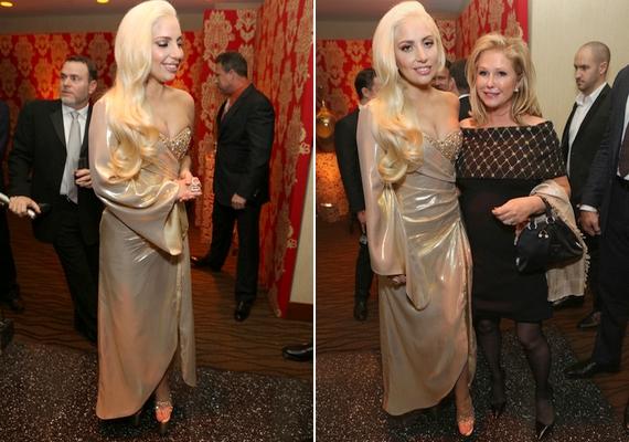 Lady Gaga egy szépséges arany estélyiben jelent meg a Golden Globe-díjátadó utóbuliján.