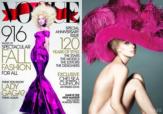 Lady Gaga a címlapon még estélyiben feszít, de a belső oldalakon már csak egy kalapot visel.