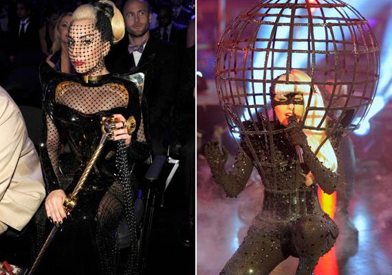Lady Gaga imidzséhez hozzátartoznak az extrém sminkek és a jelmezszerű fellépőruhák.