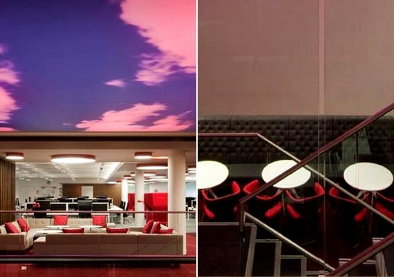 Rózsaszín felhők a plafonon, kávézói hangulat, kell ennél több? AVirgin Money tervezői és kivitelezői szerint sem.