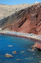A vörös part Oia-nál