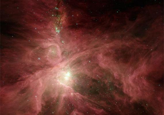 A Spitzer űrteleszkóp felvétele az Orion nebuláról, a Földhöz legközelebbi csillaggyárról.